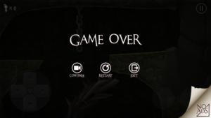 ゲームオーバーの画面