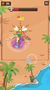女王蜂が全方位に針を飛ばしている画面