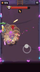 紫のロボットが近距離で竜巻を起こしている画像