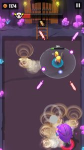 紫のロボットが正面に竜巻を起こしている画像