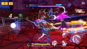 ファルギスが青い剣士で通常攻撃をしているところ