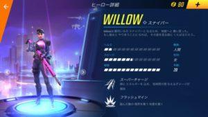 ウィローのヒーロー詳細